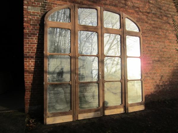 eiken scheidingswand deuren met spiegelglas