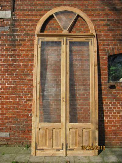 grenen dubbele deuren met bovenlicht, veel glas