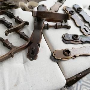 antieke klinken, antieke koperen deurklinken