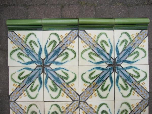 lambrisering,Antieke wandtegels, art nouveau wandtegels, art deco wandtegels, antieke muurtegels, jaren dertig tegels, witjes